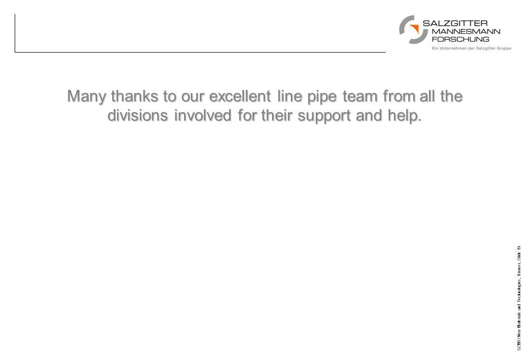 SZMF/ New Materials and Technologies, Bremer, Slide 19 Many thanks to our excellent line pipe team from all the divisions involved for their support a