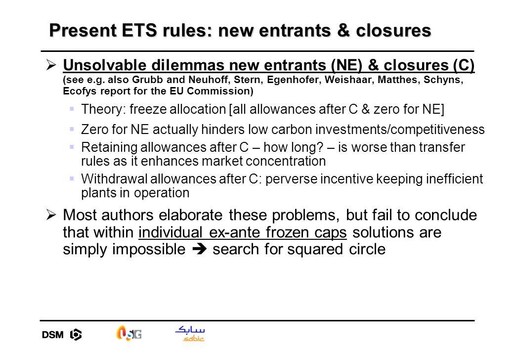 Present ETS rules: new entrants & closures Unsolvable dilemmas new entrants (NE) & closures (C) (see e.g. also Grubb and Neuhoff, Stern, Egenhofer, We