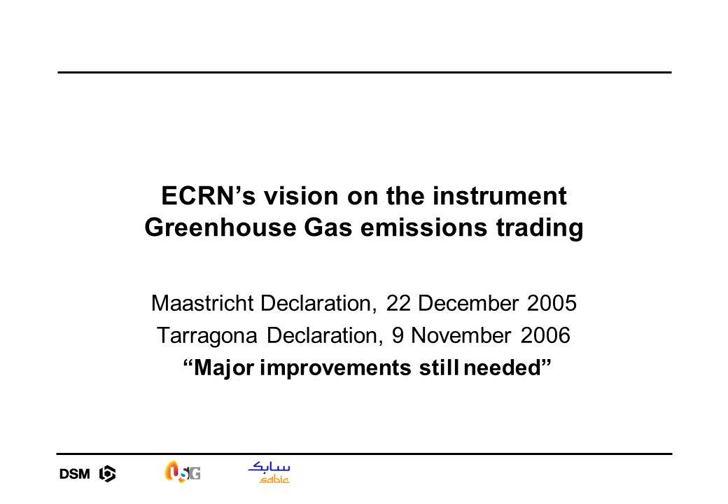 ECRNs vision on the instrument Greenhouse Gas emissions trading Maastricht Declaration, 22 December 2005 Tarragona Declaration, 9 November 2006 Major