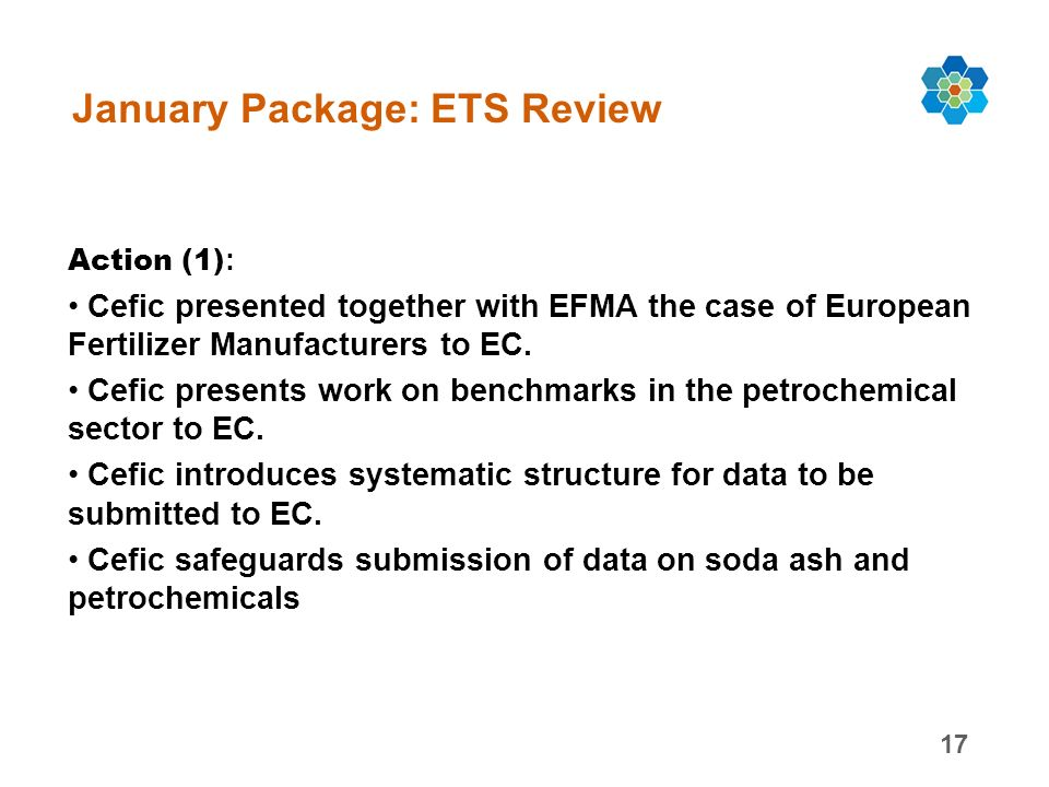 17 January Package: ETS Review Action (1) : Cefic presented together with EFMA the case of European Fertilizer Manufacturers to EC.