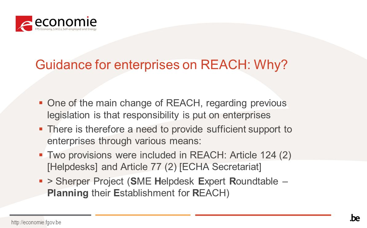 http://economie.fgov.be Guidance for enterprises on REACH: Why.