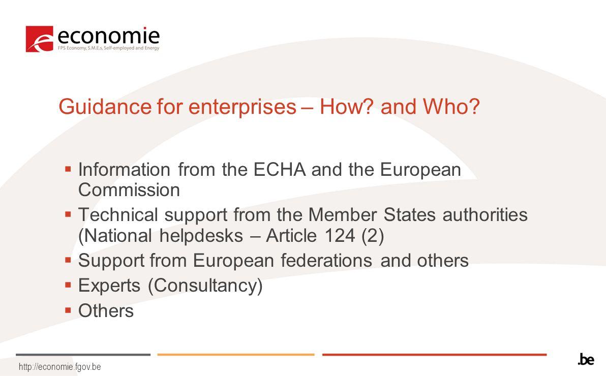 http://economie.fgov.be Guidance for enterprises – How.
