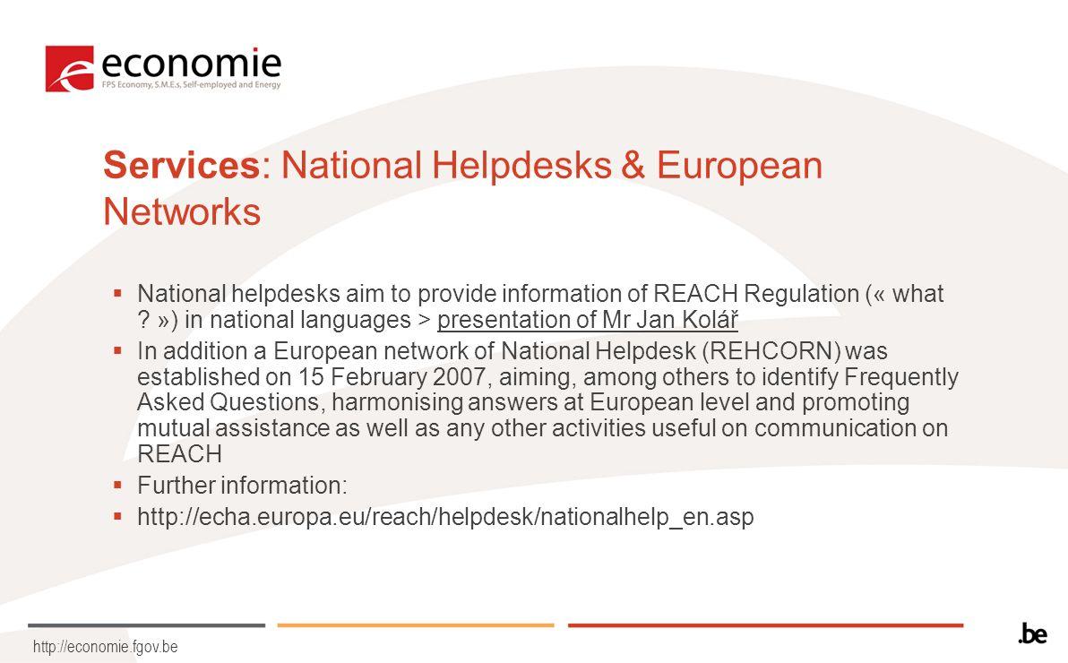 http://economie.fgov.be Information: ECHA Main page