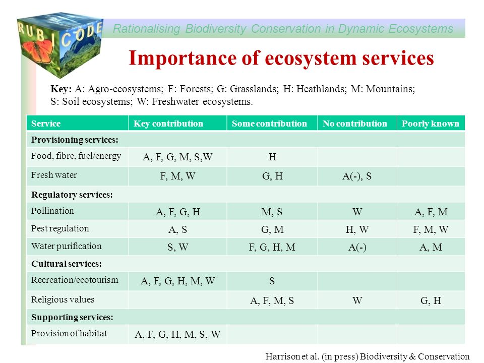 Rationalising Biodiversity Conservation in Dynamic Ecosystems www.rubicode.net Importance of ecosystem services ServiceKey contributionSome contributi