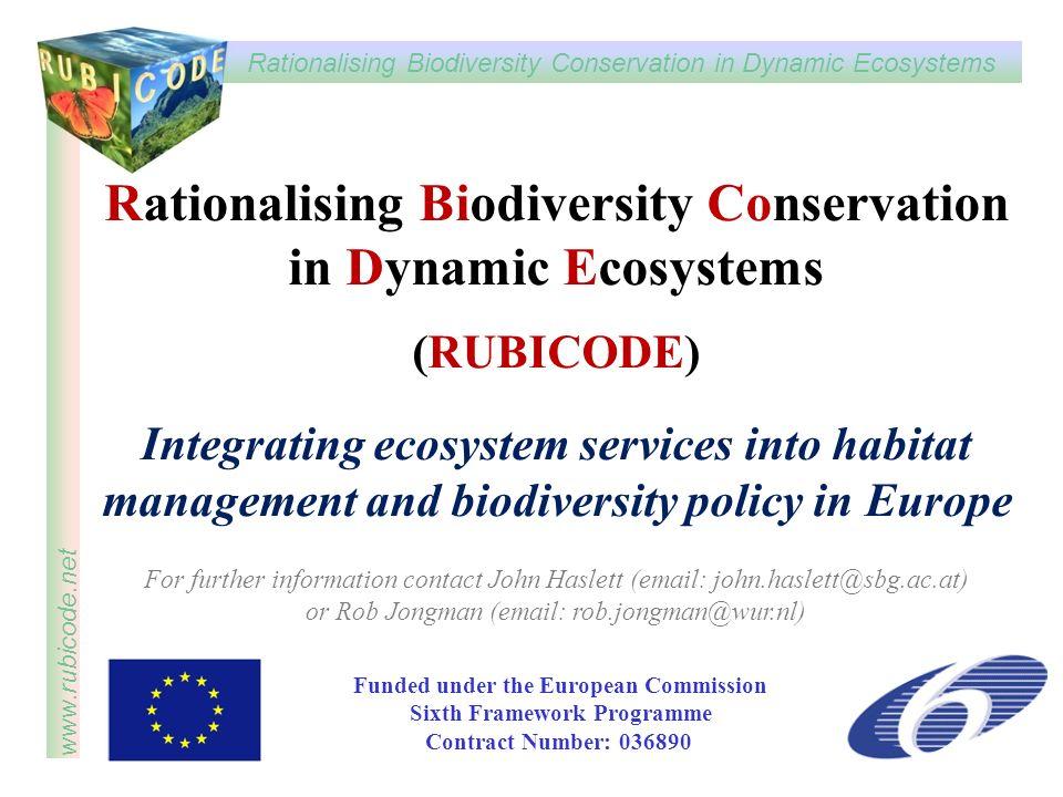 Rationalising Biodiversity Conservation in Dynamic Ecosystems www.rubicode.net Rationalising Biodiversity Conservation in Dynamic Ecosystems (RUBICODE