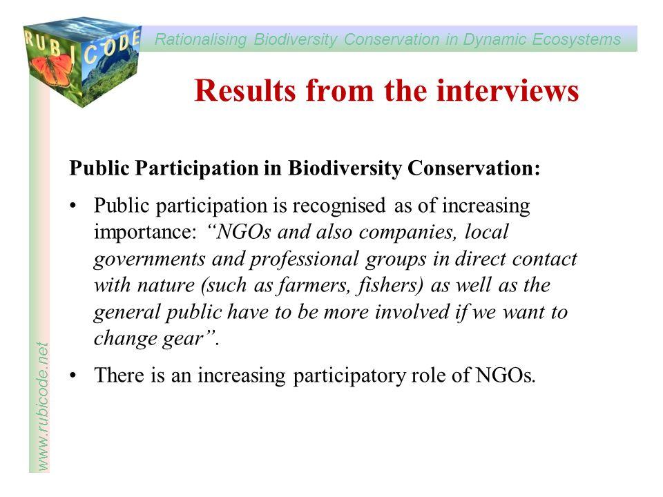 Rationalising Biodiversity Conservation in Dynamic Ecosystems www.rubicode.net Public Participation in Biodiversity Conservation: Public participation