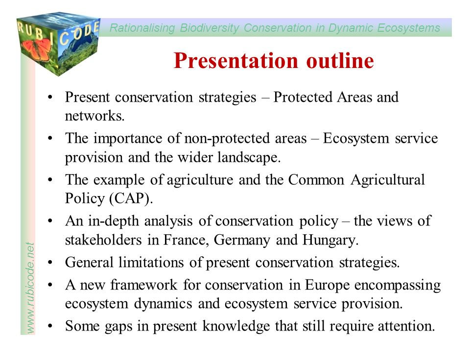 Rationalising Biodiversity Conservation in Dynamic Ecosystems www.rubicode.net Presentation outline Present conservation strategies – Protected Areas