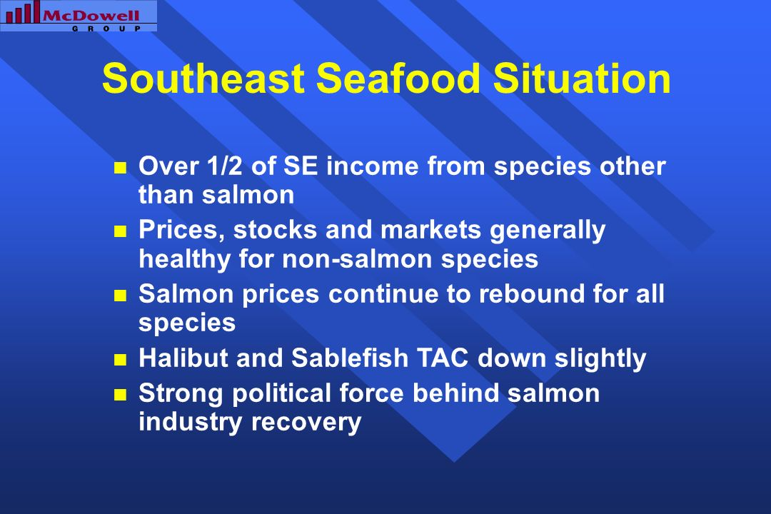 Southeast Seafood Situation Over 1/2 of SE income from species other than salmon Prices, stocks and markets generally healthy for non-salmon species Salmon prices continue to rebound for all species Halibut and Sablefish TAC down slightly Strong political force behind salmon industry recovery