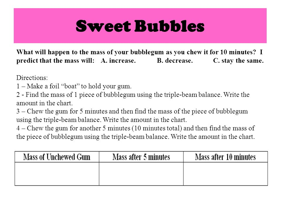 Think About It.How did the bubblegums mass change.