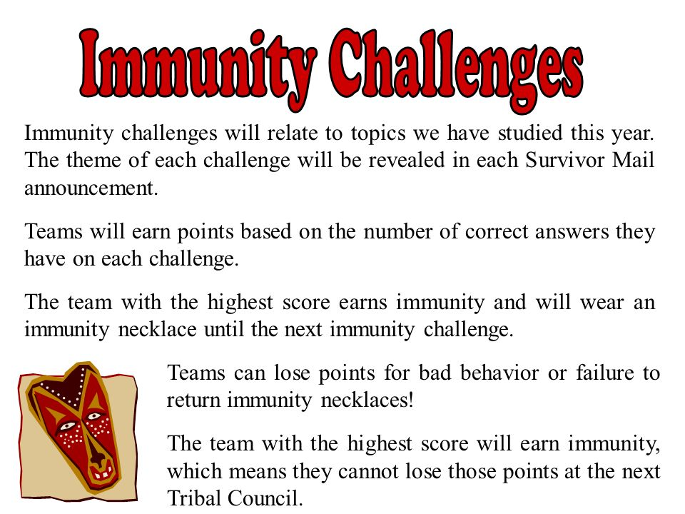 Immunity challenges will relate to topics we have studied this year. The theme of each challenge will be revealed in each Survivor Mail announcement.