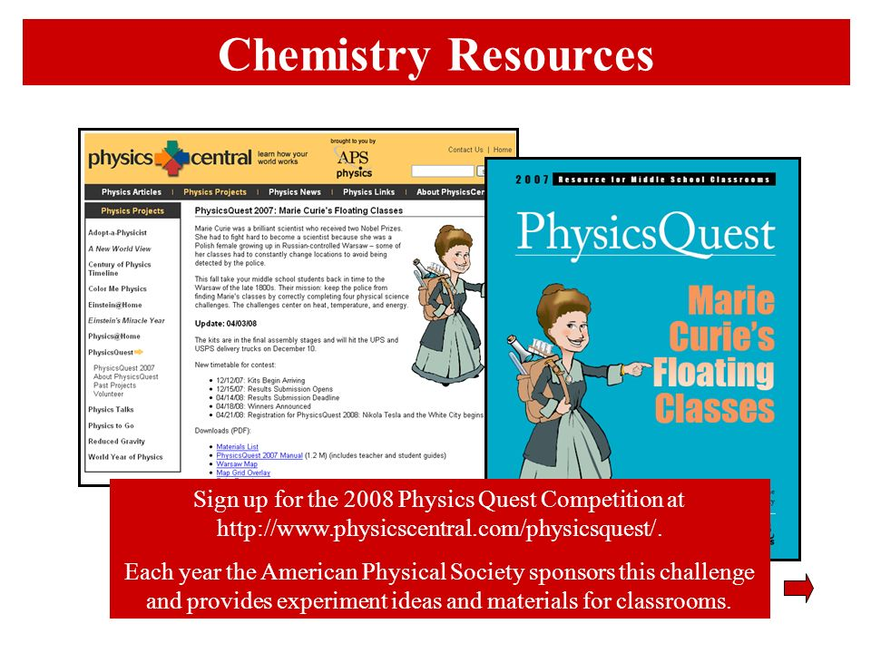 Chemistry Resources Sign up for the 2008 Physics Quest Competition at http://www.physicscentral.com/physicsquest/. Each year the American Physical Soc