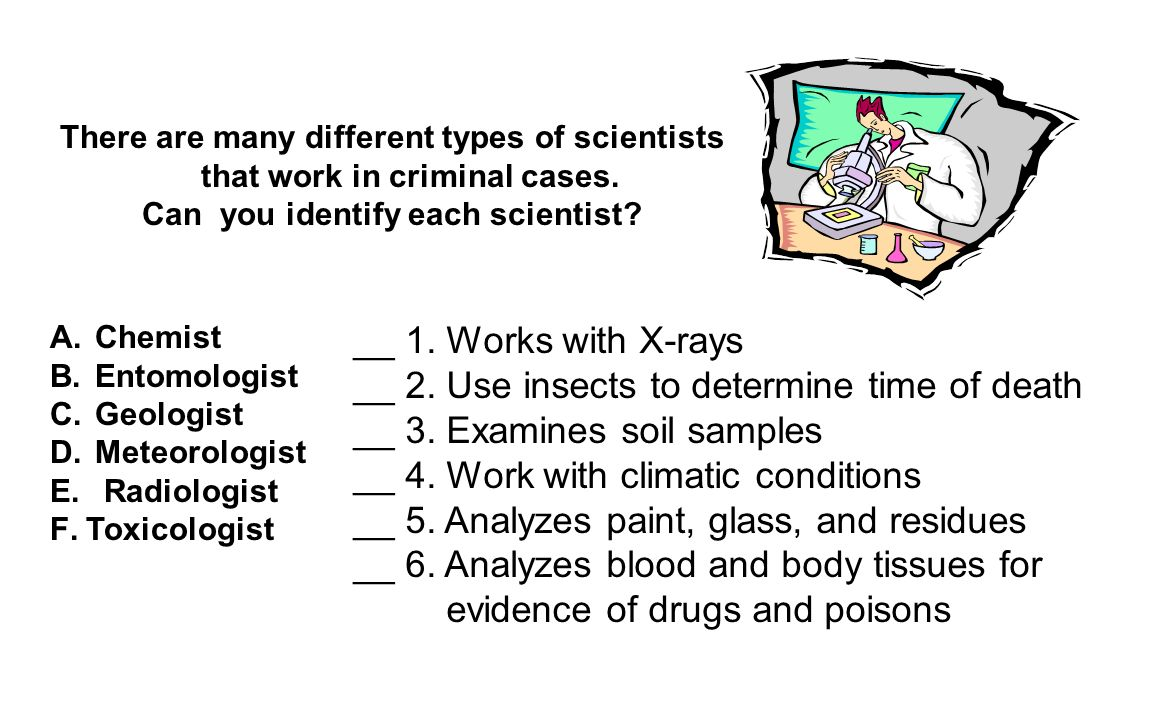 The answers are...A. Chemist B. Entomologist C. Geologist D.