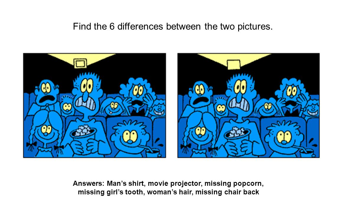 Find the 6 differences between the two pictures. Answers: Mans shirt, movie projector, missing popcorn, missing girls tooth, womans hair, missing chai