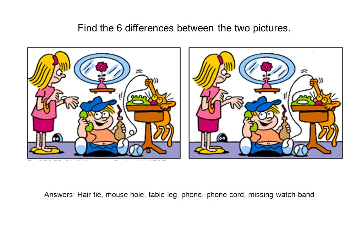 Find the 6 differences between the two pictures. Answers: Hair tie, mouse hole, table leg, phone, phone cord, missing watch band