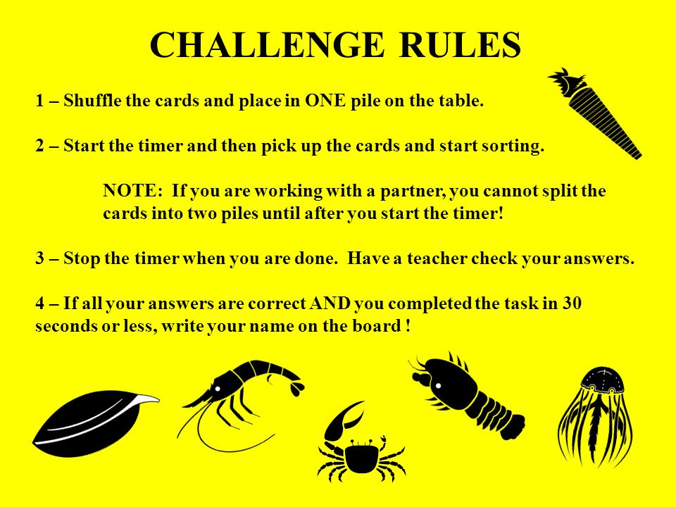 CHALLENGE RULES 1 – Shuffle the cards and place in ONE pile on the table. 2 – Start the timer and then pick up the cards and start sorting. NOTE: If y