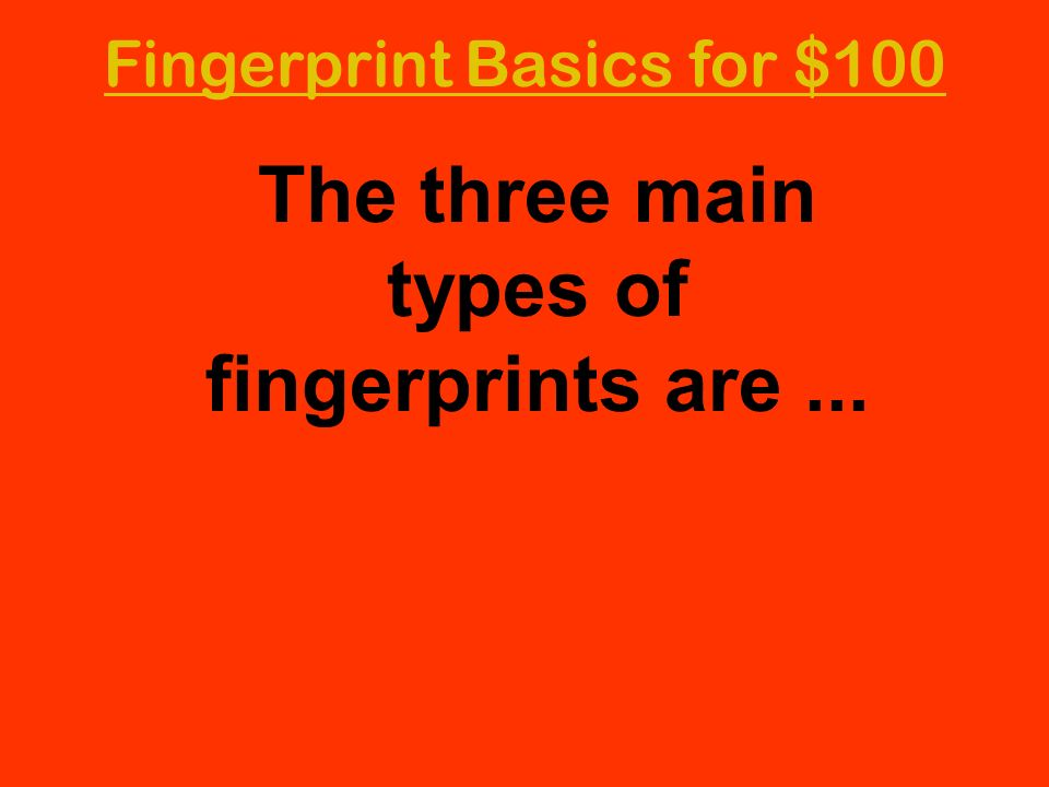 Fingerprint Basics for $100 The three main types of fingerprints are...