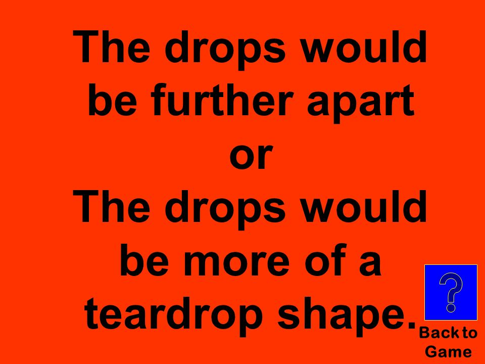 Back to Game The drops would be further apart or The drops would be more of a teardrop shape.