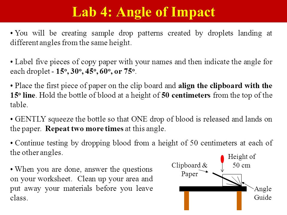 You will be creating sample drop patterns created by droplets landing at different angles from the same height. Label five pieces of copy paper with y