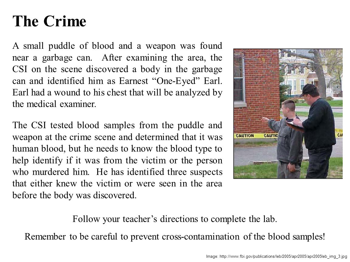 The Crime A small puddle of blood and a weapon was found near a garbage can. After examining the area, the CSI on the scene discovered a body in the g