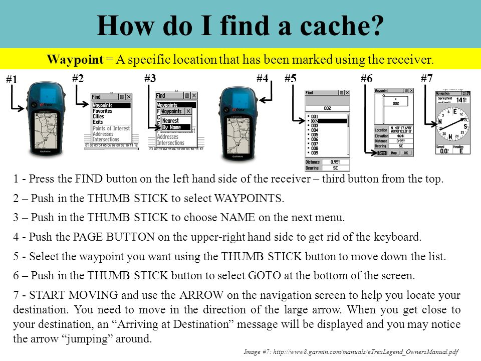 How do I find a cache? Image #7: http://www8.garmin.com/manuals/eTrexLegend_OwnersManual.pdf #1 2 – Push in the THUMB STICK to select WAYPOINTS. #2 Wa