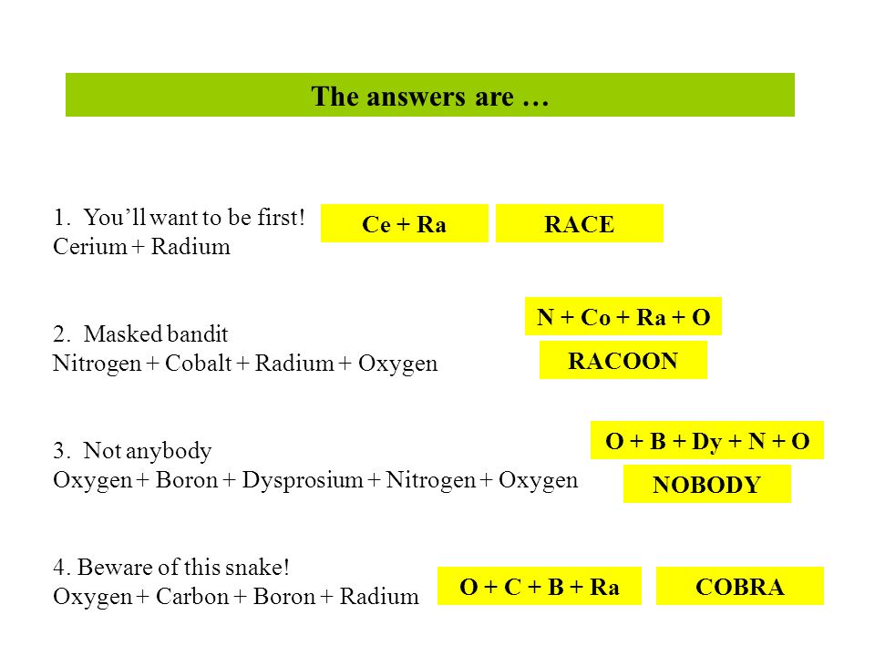The answers are … 1. Youll want to be first! Cerium + Radium 2. Masked bandit Nitrogen + Cobalt + Radium + Oxygen 3. Not anybody Oxygen + Boron + Dysp