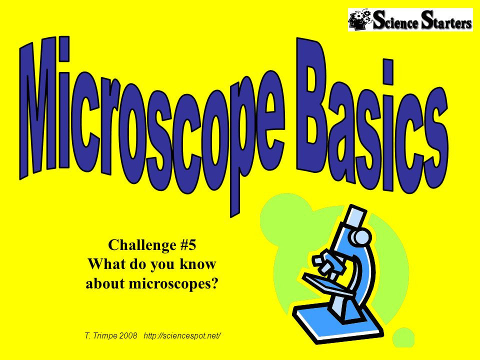 T. Trimpe 2008 http://sciencespot.net/ Challenge #5 What do you know about microscopes