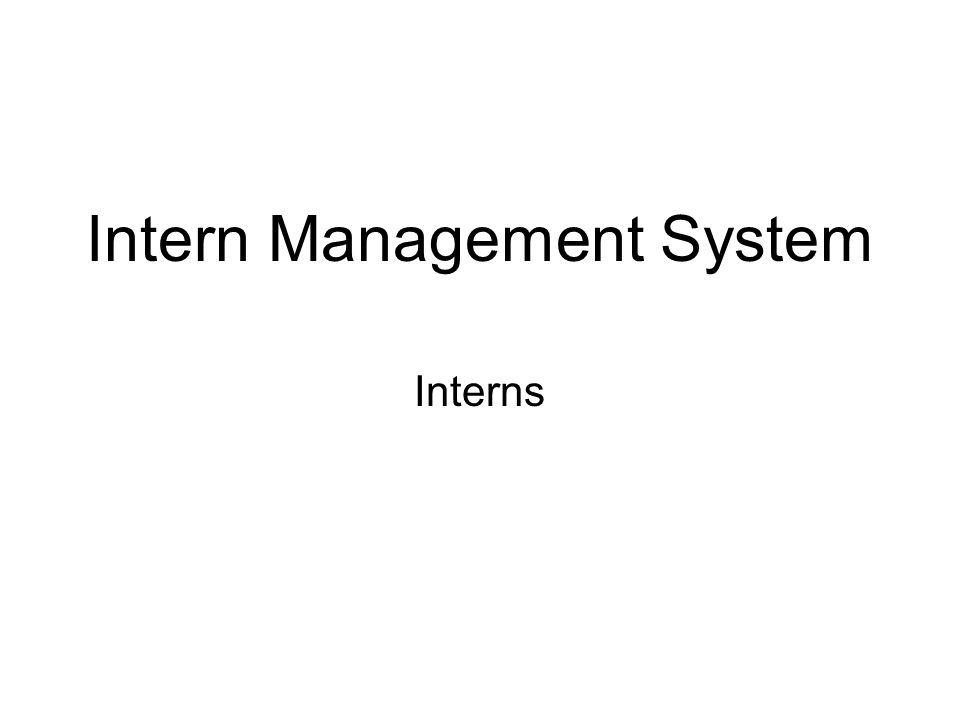 Intern Management System Interns