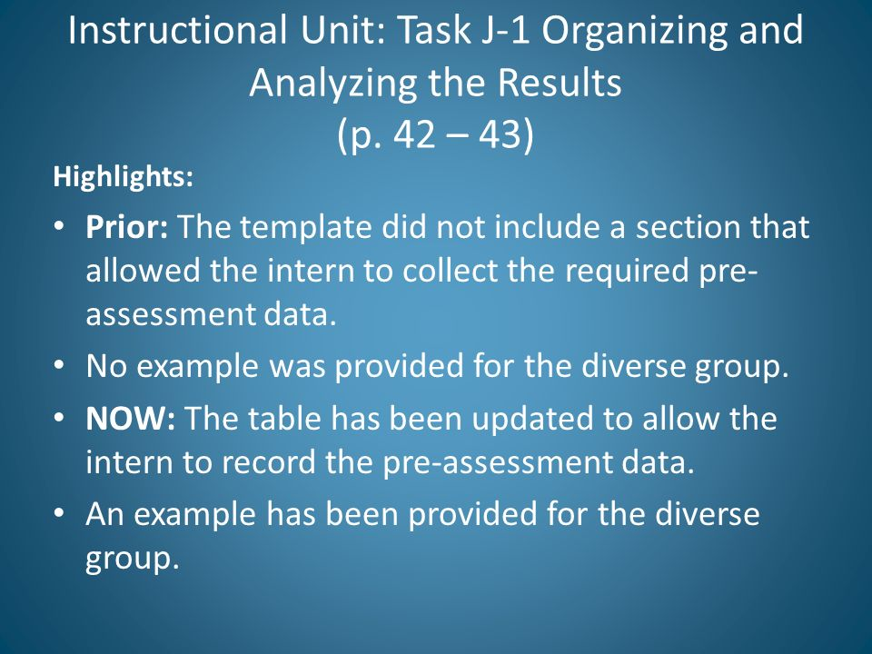 Instructional Unit: Task J-1 Organizing and Analyzing the Results (p. 42 – 43) Highlights: Prior: The template did not include a section that allowed