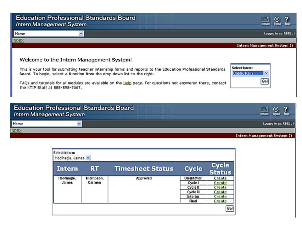 RTIY – Cycle Reports Dates –Each cycle report asks for the date of the committee meeting and most ask for the observation dates for that cycle Enter dates in the MM/DD/YYYY format Observation Scores –Where requested, enter the scores from each observer for each standard –The scores entered on the Cycle III report will determine if the final report indicates a successful or unsuccessful internship Strengths and Priority Areas –Cycles I, II and III have text boxes where you can enter text to identify this information Generate Report –Once all data has been entered for a report, click the Generate Report button to create the report