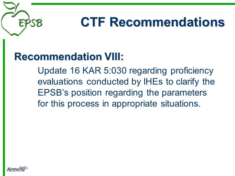Recommendation VIII:.