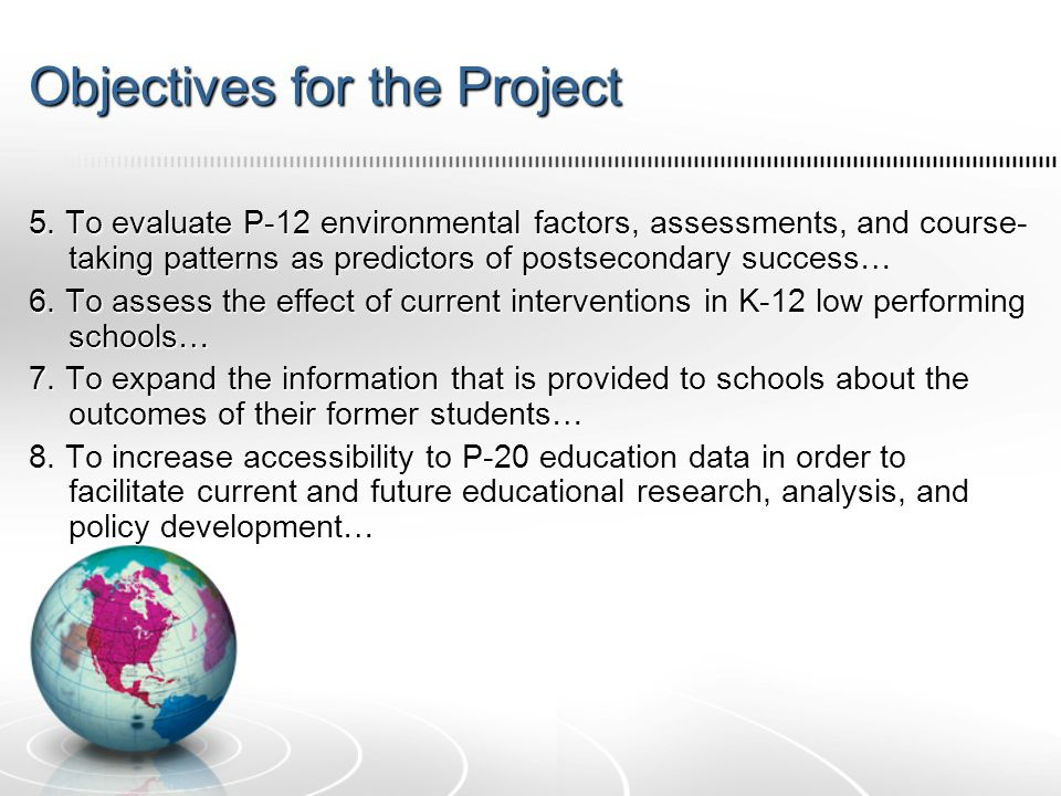 Objectives for the Project 5.