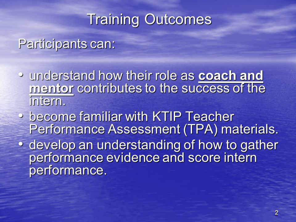 2 Training Outcomes Participants can: understand how their role as coach and mentor contributes to the success of the intern. understand how their rol