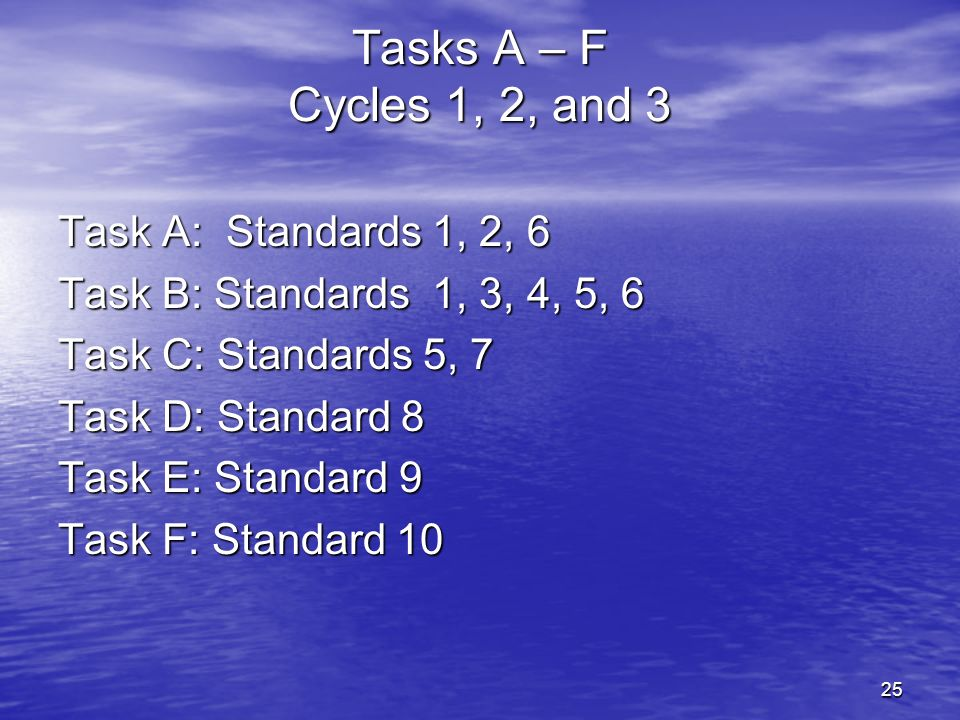 25 Tasks A – F Cycles 1, 2, and 3 Task A: Standards 1, 2, 6 Task B: Standards 1, 3, 4, 5, 6 Task C: Standards 5, 7 Task D: Standard 8 Task E: Standard