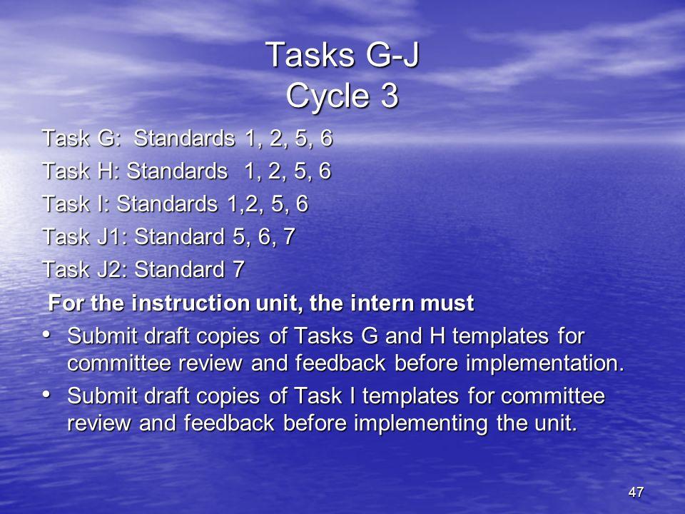 47 Tasks G-J Cycle 3 Task G: Standards 1, 2, 5, 6 Task H: Standards 1, 2, 5, 6 Task I: Standards 1,2, 5, 6 Task J1: Standard 5, 6, 7 Task J2: Standard