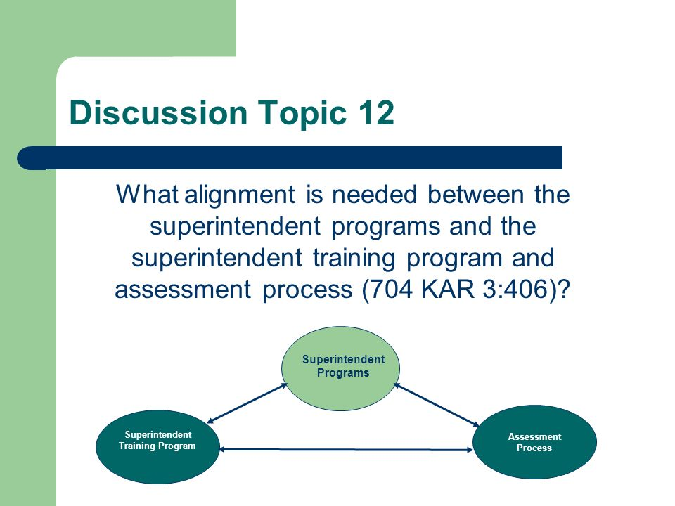 Discussion Topic 11 What alignment is needed between the superintendent programs with the redesigned teacher leader masters and principal programs.