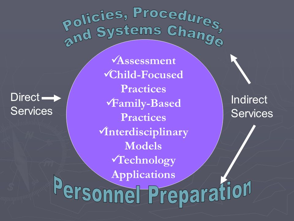 Assessment Child-Focused Practices Family-Based Practices Interdisciplinary Models Technology Applications Direct Services Indirect Services