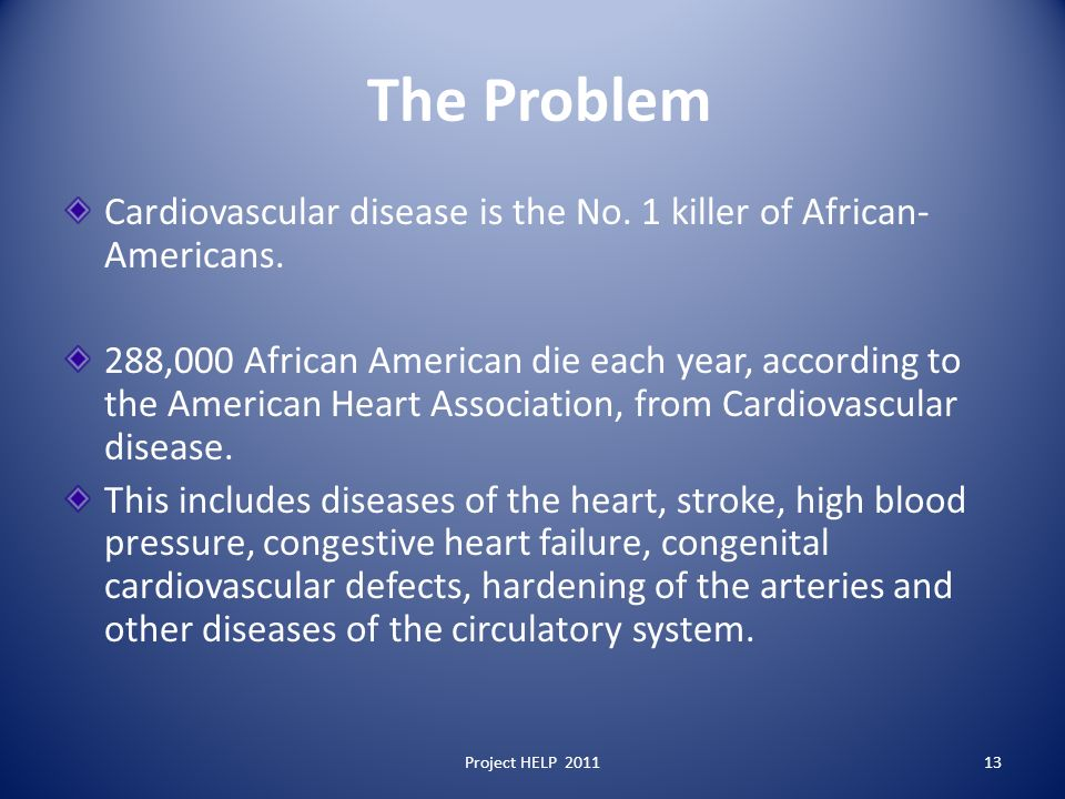 The Problem Cardiovascular disease is the No. 1 killer of African- Americans.