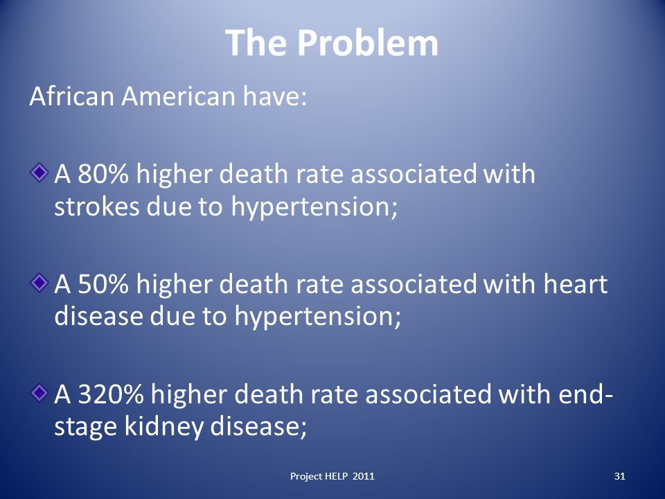 The Problem African American have: A 80% higher death rate associated with strokes due to hypertension; A 50% higher death rate associated with heart disease due to hypertension; A 320% higher death rate associated with end- stage kidney disease; Project HELP 201131