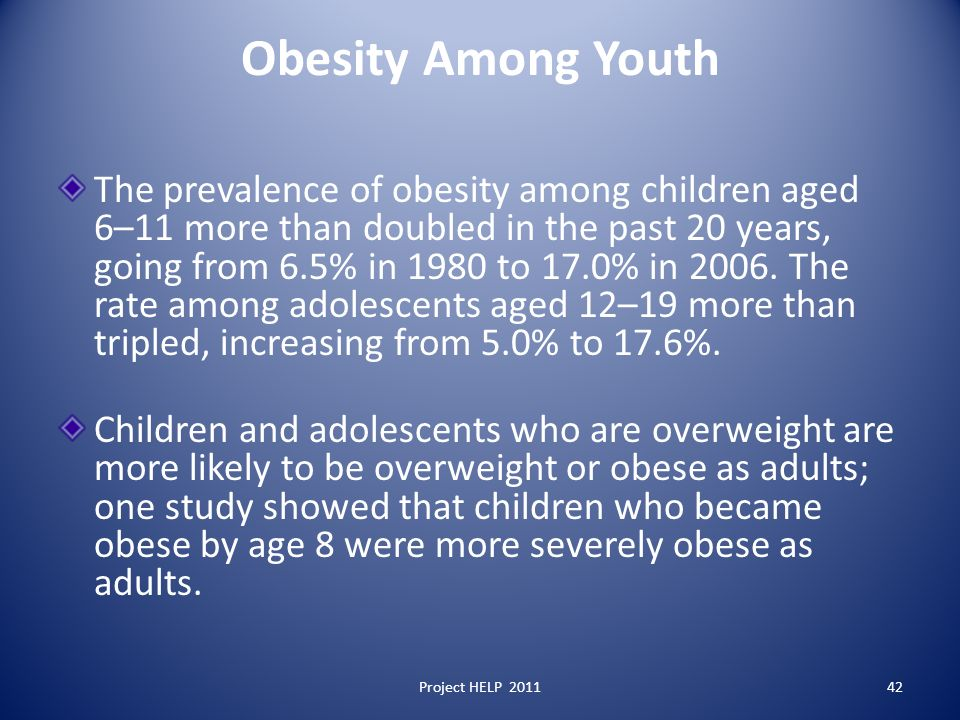 Obesity Among Youth The prevalence of obesity among children aged 6–11 more than doubled in the past 20 years, going from 6.5% in 1980 to 17.0% in 2006.