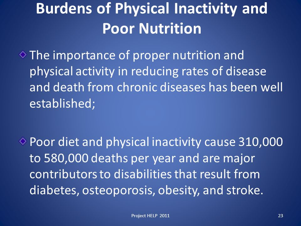 Burdens of Physical Inactivity and Poor Nutrition The importance of proper nutrition and physical activity in reducing rates of disease and death from chronic diseases has been well established; Poor diet and physical inactivity cause 310,000 to 580,000 deaths per year and are major contributors to disabilities that result from diabetes, osteoporosis, obesity, and stroke.