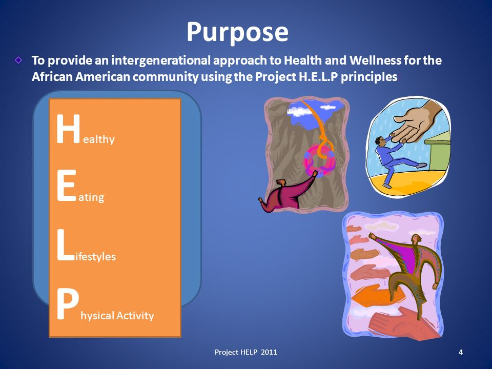 Purpose To provide an intergenerational approach to Health and Wellness for the African American community using the Project H.E.L.P principles: H ealthy E ating L ifestyles P hysical Activity Project HELP 20114