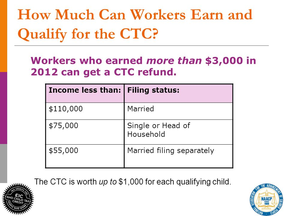 10 How Much Can Workers Earn and Qualify for the CTC.