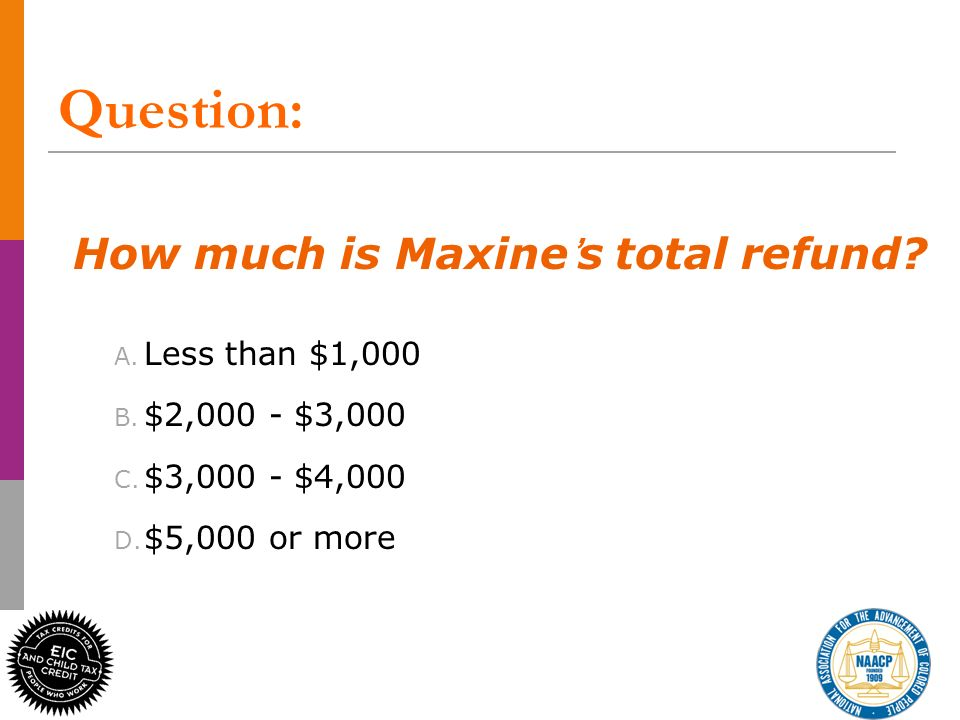 Question: How much is Maxines total refund.A. Less than $1,000 B.