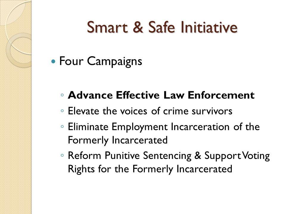 Smart & Safe Initiative Four Campaigns Advance Effective Law Enforcement Elevate the voices of crime survivors Eliminate Employment Incarceration of t