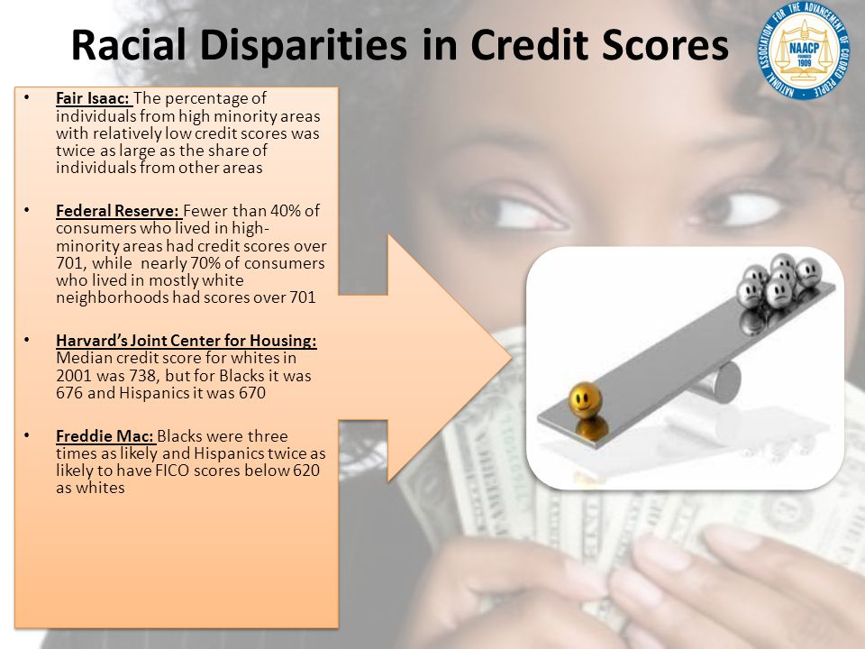 Racial Disparities in Credit Scores Fair Isaac: The percentage of individuals from high minority areas with relatively low credit scores was twice as