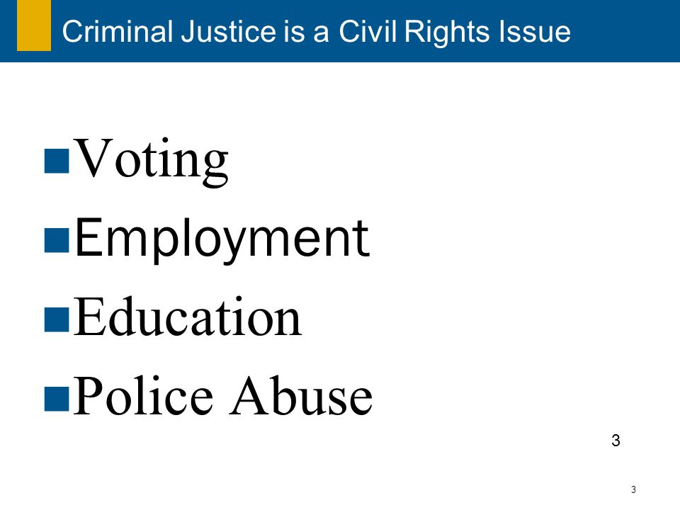 3 Criminal Justice is a Civil Rights Issue Voting Employment Education Police Abuse 3
