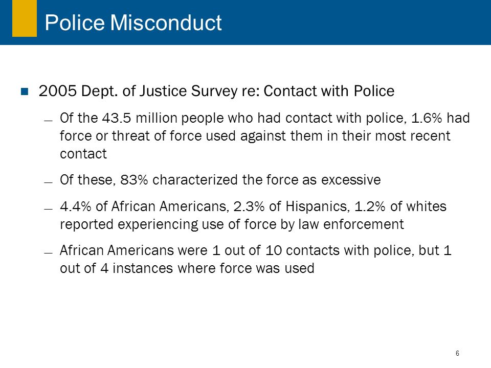 6 Police Misconduct 2005 Dept. of Justice Survey re: Contact with Police Of the 43.5 million people who had contact with police, 1.6% had force or thr