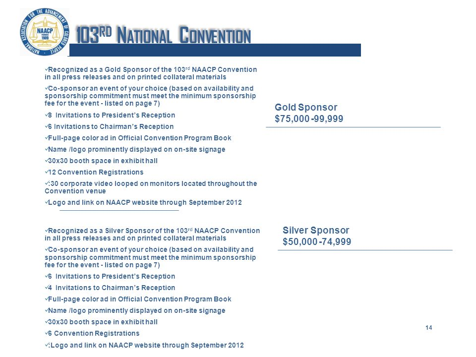 Recognized as a Gold Sponsor of the 103 rd NAACP Convention in all press releases and on printed collateral materials Co-sponsor an event of your choice (based on availability and sponsorship commitment must meet the minimum sponsorship fee for the event - listed on page 7) 8 Invitations to Presidents Reception 6 Invitations to Chairmans Reception Full-page color ad in Official Convention Program Book Name /logo prominently displayed on on-site signage 30x30 booth space in exhibit hall 12 Convention Registrations :30 corporate video looped on monitors located throughout the Convention venue Logo and link on NAACP website through September 2012 Recognized as a Silver Sponsor of the 103 rd NAACP Convention in all press releases and on printed collateral materials Co-sponsor an event of your choice (based on availability and sponsorship commitment must meet the minimum sponsorship fee for the event - listed on page 7) 6 Invitations to Presidents Reception 4 Invitations to Chairmans Reception Full-page color ad in Official Convention Program Book Name /logo prominently displayed on on-site signage 30x30 booth space in exhibit hall 6 Convention Registrations :Logo and link on NAACP website through September 2012 Gold Sponsor $75,000 -99,999 Silver Sponsor $50,000 -74,999 14 103 RD N ATIONAL C ONVENTION