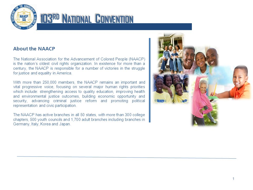 About the NAACP The National Association for the Advancement of Colored People (NAACP) is the nations oldest civil rights organization.