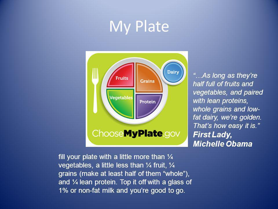 My Plate fill your plate with a little more than ¼ vegetables, a little less than ¼ fruit, ¼ grains (make at least half of them whole), and ¼ lean protein.
